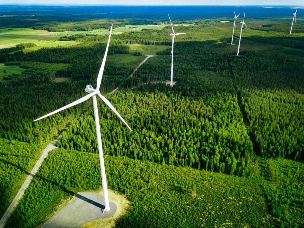 Modern wind power turbine units in Finnish forest