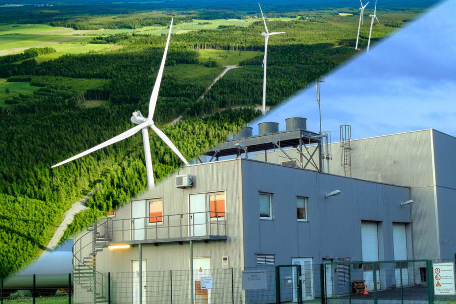 Windmills Finland in the forest, diagonally split image, other side picturing a district heating plant